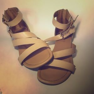 Franco Sarto Nude Beige Strappy Leather Sandals